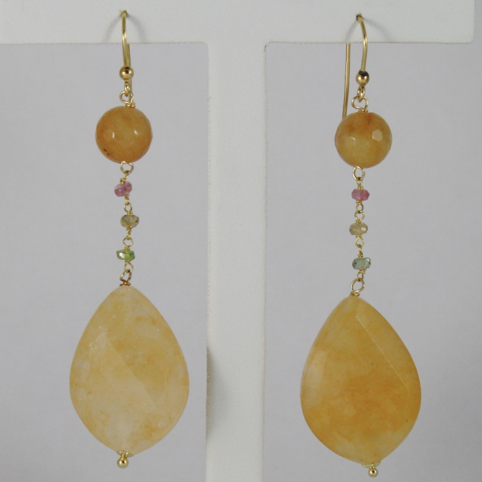 18K YELLOW GOLD PENDANT EARRINGS ARAGONITE DROP AGATE TOURMALINE MADE IN ITALY