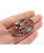 CARL-ART 925 Silver - Vintage Dark Tone Sculpted Flower Brooch Pin - BP5293 - $33.12