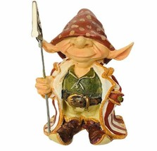 Elf figurine vtg pixie sculpture collectible troll paper sign holder dec... - $29.65