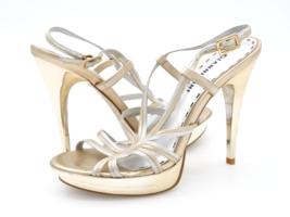 Gianni Bini Womens 7M Gold Silver Leather Adjustable Strap Slingback Heels - $29.99