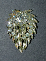 ANTIQUE 4-TIER AUSTRIAN BROOCH/PIN MARQUISE-ROUND-OVAL CLEAR RHINESTONES - $78.00