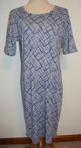 New LuLaRoe Dress Julia Gray Purple Geometric Lines Short Sleeve Stretch Knit XL - $22.43