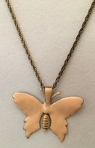 Vintage Signed Miriam Haskell Peach Color Butterfly Necklace Patent 3427691 - $48.51