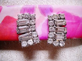 MULTI-SHAPE, SIZE RHINESTONE STUDDED CURVED HUGGIE CLIP-ONS, SILVER TONE... - $12.99