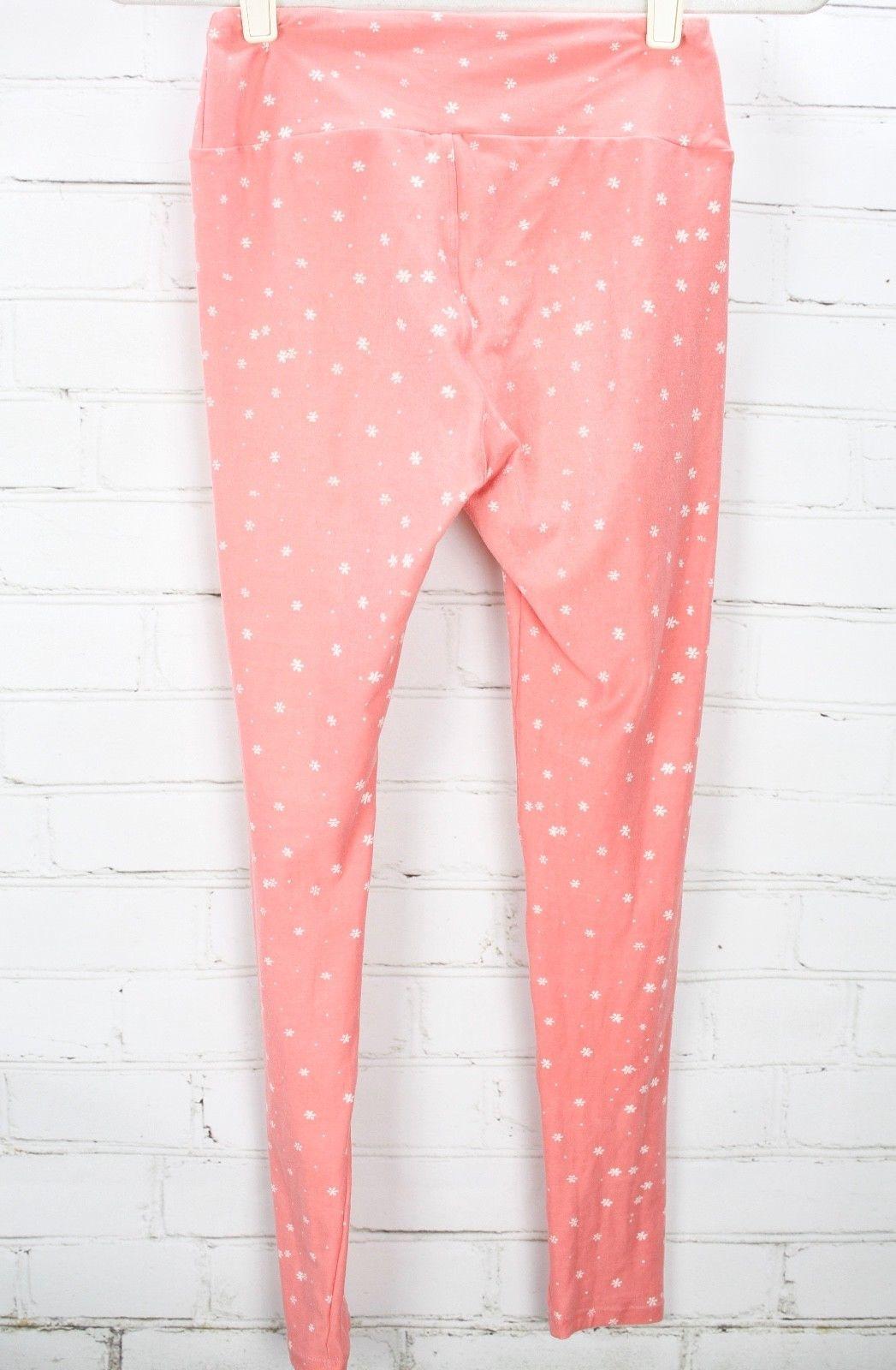 LULAROE Leggings Pink Floral Print OS One Size - Lot of 2 image 9
