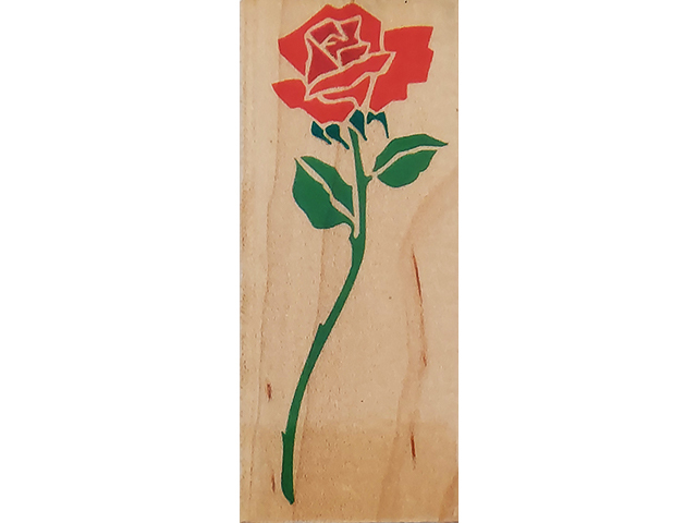 Rubber Stampede 1992 Long Stem Rose Wood Mounted Rubber Stamp #Z-348-E