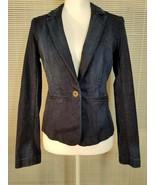 Ann Taylor Loft 2 Dark Denim Jacket Blazer  Blue Button Slit Pocket Stretch - $14.55