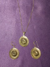 Sterling Silver Cowboy Western Hat Earring & Necklace Set Marked MO .925 - $39.60