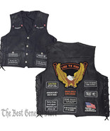 Men Black Leather Weapon Gun Concealed Carry Vest 8 Biker Patches Lace-U... - $28.56