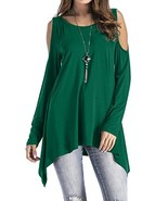 Adreamly Women's Cold Shoulder Long Sleeve Swing Loose Fit T-Shirt Tunic... - $20.74