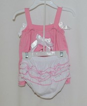 I Love Baby Pink White Sun Dress Ruffle Bloomers Size 90cm 2 to 3 Year Old image 2