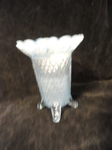 Katy Blue 4-Toed Laced Edge Vase by Imperial Glass 1930s Opalescent - $34.99