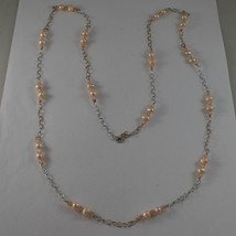 .925 SILVER RHODIUM AND ROSE GOLD PLATED NECKLACE WITH PINK PEARLS AND CRYSTALS image 2