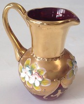 NORLEANS JAPAN RED RUBY GLASS HAND PAINTED FLORAL GOLD PITCHER - $29.70