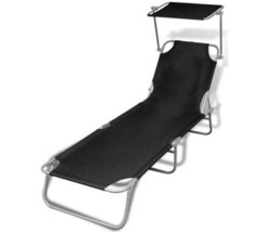 Sun Lounger With Adjustable Canopy Foldable Garden Seat Beach Lounge Cha... - $61.44