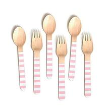 Pink Stripe Wooden Cutlery, 24 Wooden Spoons or 24 Wooden Forks, Pink an... - $27.72