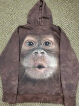 Men's The Mountain Brown Monkey Hoodie Sweatshirt Small Excellent Condition - $24.74