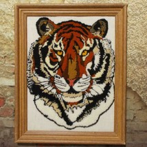 Tiger Face Finished Punch Needle Completed Framed Needlepoint 12 x 15 - $39.59