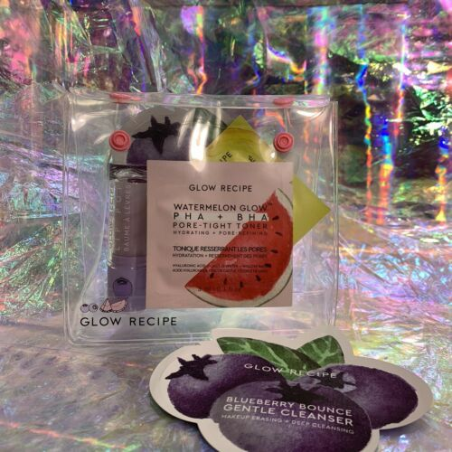 Glow Recipe Limited Edition Blueberry Lip Pop In Original Tote W Sachet Samples