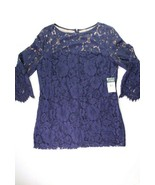 Ralph Lauren Womens Sz 16 Navy Blue Bell Sleeve Lined Lace Cocktail Part... - $111.37