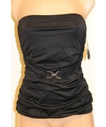 NWT Michael Kors Swimsuit Tankini Top Size S Black Strap Gold Hardware - $30.87