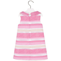 Mayoral Little Girls 2T-9 Light Fuchsia-Pink Jacquard Stripe Social Party Dress image 2