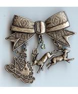 Christmas Bow Pin with Santa Sleigh and Reindeer Handmade - $15.00