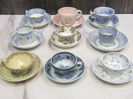9 Different Transferware Childrens Demitasse Cups and Saucers Pink Blue Brown  - $99.00