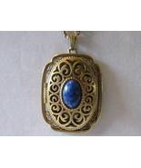"""Vintage Avon """"Yesteryear Picture Locket"""" Pendant Necklace, 1973 - Faux Lapis - £12.35 GBP"""
