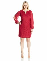 Adrianna Papell Women'S Size Cold Shoulder Sleeve Shift Dress Plus - $112.19