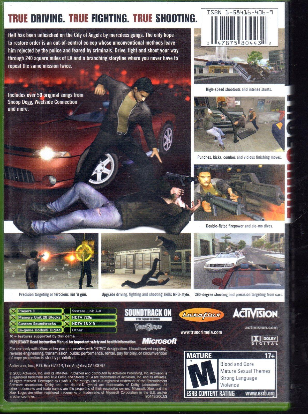 True Crime Streets of L.A. - Microsoft Xbox