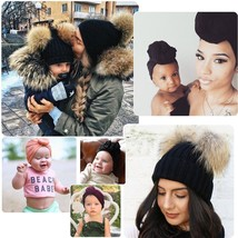 Mother&Baby Daughter/Son Winter Warm Knit Hat Family Crochet Fur Beanie ... - $11.60