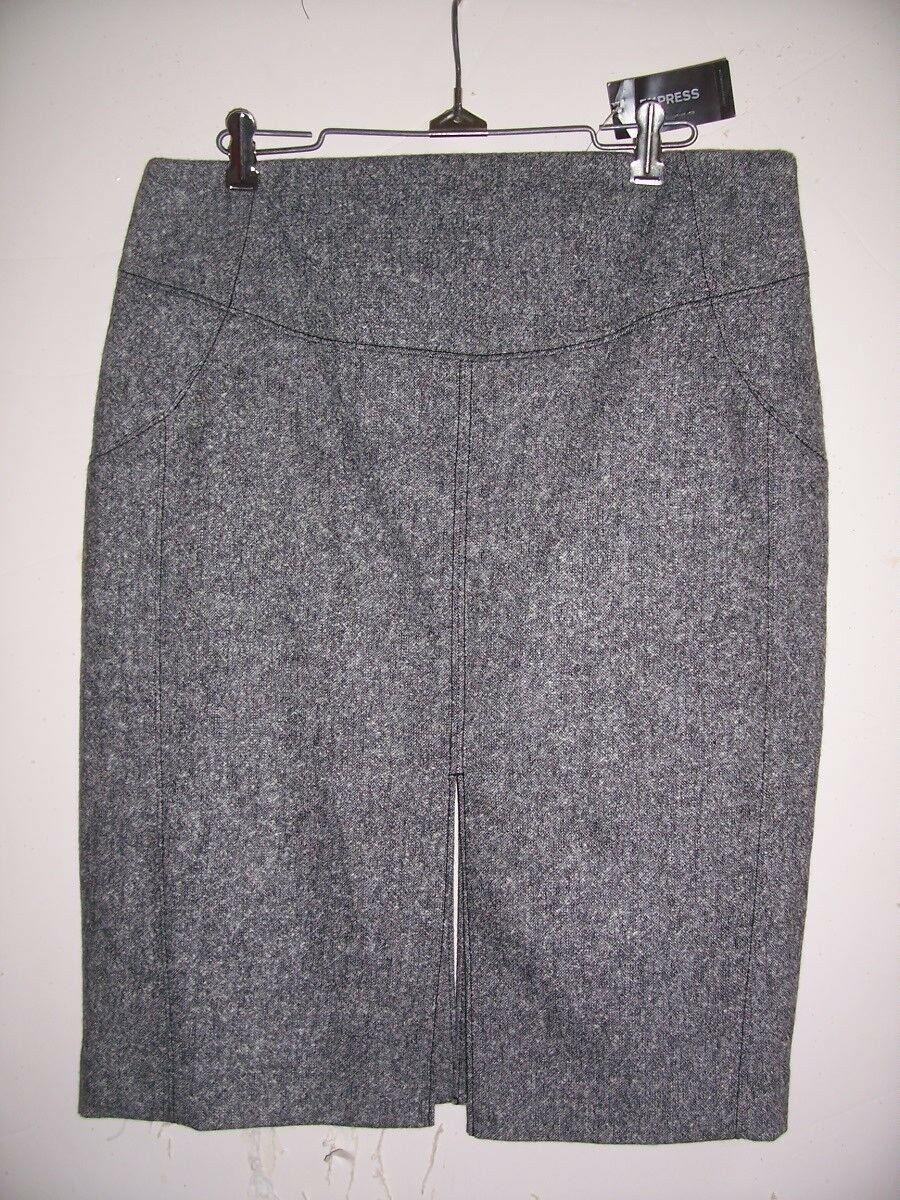 NWT EXPRESS 12 B & W Wool Blend Tweed Animal Print Lined 2 Slit Pencil Skirt - $29.44