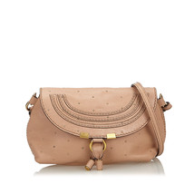 Pre-Loved Chloe Brown Small Studded Leather Marcie Crossbody Bag Spain - $433.84