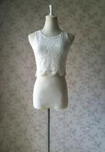 Two Piece Bridesmaid Dress Chiffon Skirt Sleeveless Crop Lace Top Green Wedding image 4