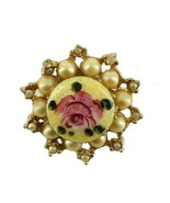 VINTAGE PINK YELLOW ENAMEL ROSE & FAUX CHAMPAGNE PEARLS SCOOP PIN SWEET - $35.99