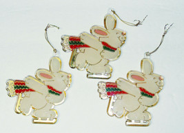 3 Vintage 1981 Hallmark Ice Skating Bunny Rabbit Ornaments - $12.99
