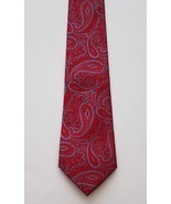 Zylos George Machada 100% Silk Red Blue Paisley Print Men's Neck Tie - $17.81