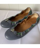 Womens Hunter Brand Dominica Blue Leather Silver Toggle Shoes Ballet Fla... - $24.72