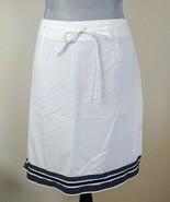 Susan Sands Sport Womens Size 12 White Black Polka Dot Trim Stretch Skirt - $9.64