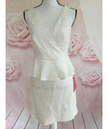 TRINA TURK NWT V NECK PEPLUM LACE DRESS WHITE WASH SIZE 10 ALL OCCASION - $80.00