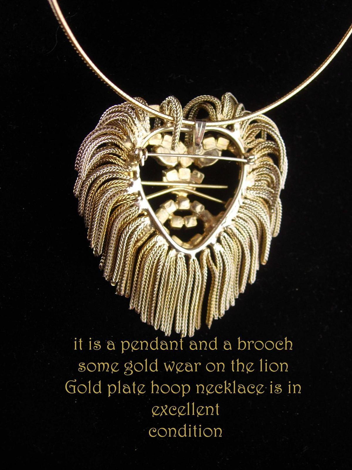 Exotic Lion necklace - vintage brooch - tassel mane - unsigned beauty