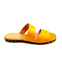 Marc Fisher Womens Jaylin Leather Studded Two Strap Slide Sandals Yellow 7.5  - $34.64
