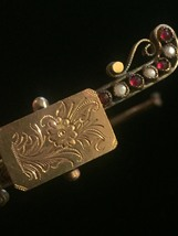Antique Victorian Suffragette hinged bangle bracelet with seed pearl and garnet image 7