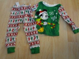 nwt-Disney-Baby Boy-24 Mo.-2 piece Pajama Set-Christmas-Mickey-Pluto-red-green