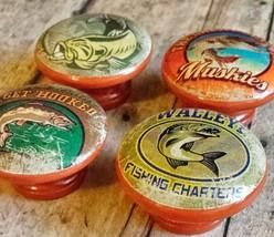"Set of 30 Handmade Fishing Wood Knob Cabinet Pulls, 1.5"" Knobs, Bass Tro... - $158.40"