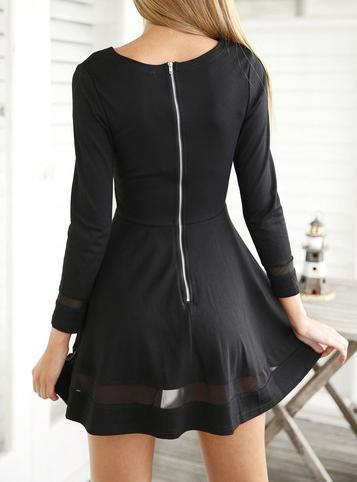 Mini Skater Dress - Black / Chiffon Inserts / Long Sleeve image 4