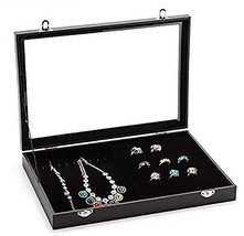 Jewelry Storage Display Box with Transparent Lid ~ Earring Ring and Neck... - $24.82