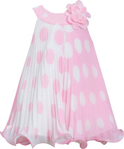 Little-Girls 2T-6X Pink White Polka Dot Colorblock Crystal Pleat Trapeze Dres... image 2