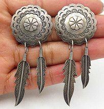 MEXICO 925 Silver - Vintage Floral Etched Feather Charmed Dangle Earrings- E4586 - $57.60
